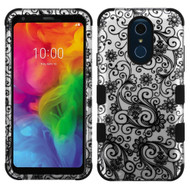 Military Grade Certified TUFF Hybrid Armor Case for LG Q7 Plus - Four Leaves Clover Black