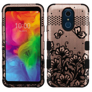 Military Grade Certified TUFF Hybrid Armor Case for LG Q7 Plus - Lace Flowers Rose Gold