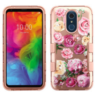 Military Grade Certified TUFF Hybrid Armor Case for LG Q7 Plus - Roses Rose Gold