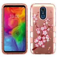 Military Grade Certified TUFF Hybrid Armor Case for LG Q7 Plus - Spring Flower Rose Gold