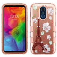 Military Grade Certified TUFF Hybrid Armor Case for LG Q7 Plus - Eiffel Tower Rose Gold