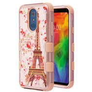 Military Grade Certified TUFF Hybrid Armor Case for LG Q7 Plus - Paris in Full Bloom Rose Gold