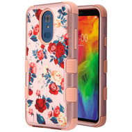 Military Grade Certified TUFF Hybrid Armor Case for LG Q7 Plus - Red and White Roses Rose Gold