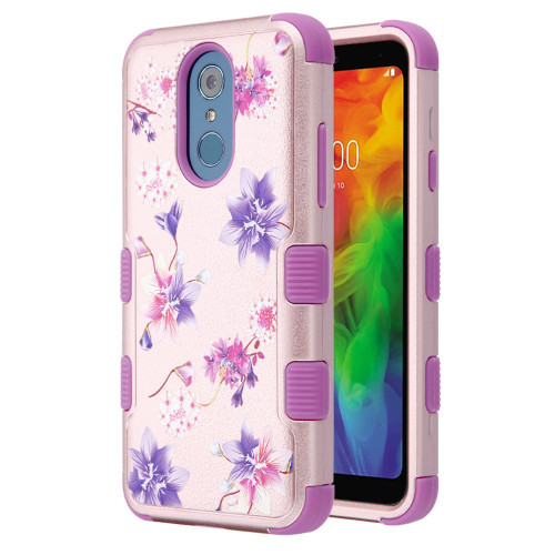 Military Grade Certified TUFF Hybrid Armor Case for LG Q7 Plus - Purple Stargazers