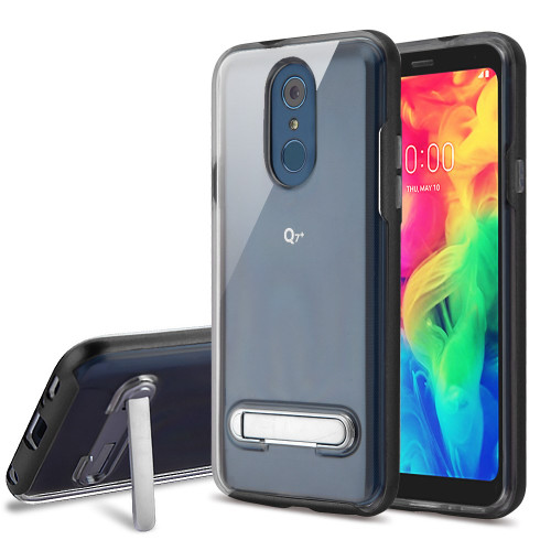 Bumper Shield Clear Transparent TPU Case with Magnetic Kickstand for LG Q7 Plus - Black