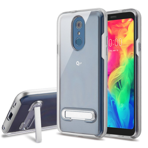Bumper Shield Clear Transparent TPU Case with Magnetic Kickstand for LG Q7 Plus - Silver