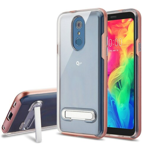 Bumper Shield Clear Transparent TPU Case with Magnetic Kickstand for LG Q7 Plus - Rose Gold