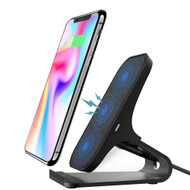 Aluminum Base Dual Coils 10W Fast Wireless Charger Qi Charging Stand Pad - Black