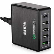 Desktop 5 Ports Quick Charge 3.0 and Type-C USB Charger Charging Station - Black