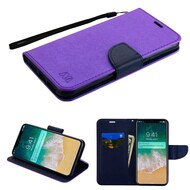 Diary Leather Wallet Stand Case for iPhone XS Max - Purple Navy Blue