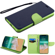 Diary Leather Wallet Stand Case for iPhone XS Max - Navy Blue Green