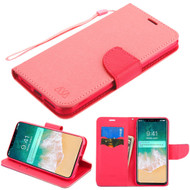 Diary Leather Wallet Stand Case for iPhone XS Max - Pink