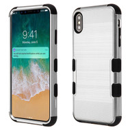 Military Grade Certified Brushed TUFF Hybrid Case for iPhone XS Max - Silver