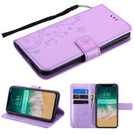 Embossed Butterfly Flower Leather-Style Wallet Stand Case for iPhone XS Max -Purple