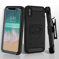 3-IN-1 Kinetic Hybrid Armor Case with Holster and Screen Protector for iPhone XS Max - Black
