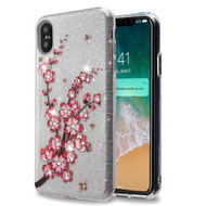 Tuff Full Glitter Diamond Hybrid Protective Case for iPhone XS Max - Spring Flowers
