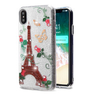 Tuff Full Glitter Diamond Hybrid Protective Case for iPhone XS Max - Paris Monarch Butterflies