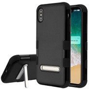 Military Grade Certified TUFF Hybrid Armor Case with Stand for iPhone XS Max - Black