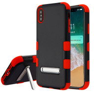 Military Grade Certified TUFF Hybrid Armor Case with Stand for iPhone XS Max - Black Red