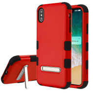 Military Grade Certified TUFF Hybrid Armor Case with Stand for iPhone XS Max - Red