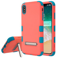 Military Grade Certified TUFF Hybrid Armor Case with Stand for iPhone XS Max - Pink Teal