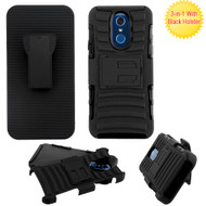 Advanced Armor Hybrid Kickstand Case with Holster for LG Q7 Plus -  Black