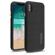 Haptic Dots Texture Anti-Slip Hybrid Armor Case for iPhone XS Max - Black