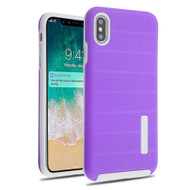 Haptic Dots Texture Anti-Slip Hybrid Armor Case for iPhone XS Max - Purple