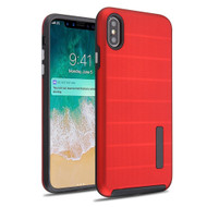Haptic Dots Texture Anti-Slip Hybrid Armor Case for iPhone XS Max - Red