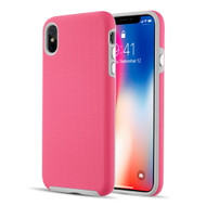 Haptic Football Textured Anti-Slip Hybrid Armor Case for iPhone XS Max - Hot Pink