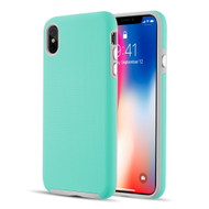 Haptic Football Textured Anti-Slip Hybrid Armor Case for iPhone XS Max - Teal