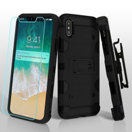 Military Grade Certified Storm Tank Hybrid Case with Holster and Tempered Glass Screen Protector for iPhone XS Max