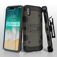 Military Grade Certified Storm Tank Hybrid Case with Holster and Tempered Glass Screen Protector for iPhone XS Max - Grey