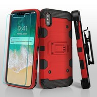 Military Grade Certified Storm Tank Hybrid Case with Holster and Tempered Glass Screen Protector for iPhone XS Max - Red