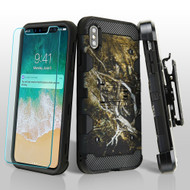 Military Grade Certified Storm Tank Hybrid Case with Holster and Tempered Glass Screen Protector for iPhone XS Max - Tree Camouflage