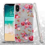 Full Glitter Diamond Hybrid Protective Case for iPhone XS Max - Vintage Rose Bush