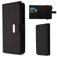 2-IN-1 Premium Tri-Fold Leather Wallet with Removable Magnetic Case for iPhone XS Max - Black