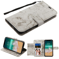 Marble Essential Leather Wallet Stand Case for iPhone XS Max - Grey