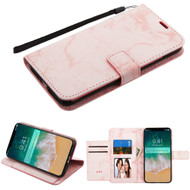 Marble Essential Leather Wallet Stand Case for iPhone XS Max - Pink