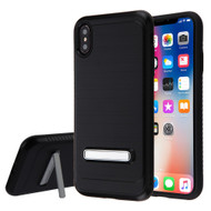 Brushed Multi-Layer Hybrid Armor Case with Kickstand for iPhone XS Max - Black
