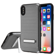 Brushed Multi-Layer Hybrid Armor Case with Kickstand for iPhone XS Max - Grey