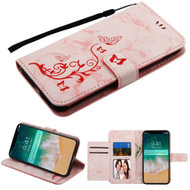 Marble Essential Leather Wallet Stand Case for iPhone XS Max - 3D Butterfly Flower Pink