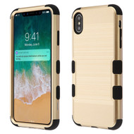 Military Grade Certified Brushed TUFF Hybrid Case for iPhone XS Max - Gold