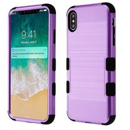Military Grade Certified Brushed TUFF Hybrid Case for iPhone XS Max - Purple