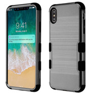 Military Grade Certified Brushed TUFF Hybrid Case for iPhone XS Max - Grey