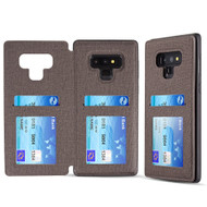 Hybrid Wallet Case with 3 Card Compartment for Samsung Galaxy Note 9 - Grey