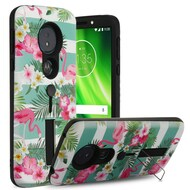 Finger Loop Case with Kickstand for Motorola Moto G6 Play / G6 Forge - Tropical Flamingo