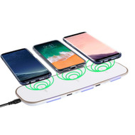 Triple Coils Multi Qi Wireless Charging Pad + Dual USB Charger Port - White