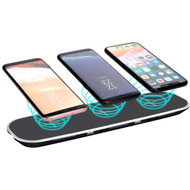 Triple Coils Multi Qi Wireless Charging Pad + Dual USB Charger Port - Black