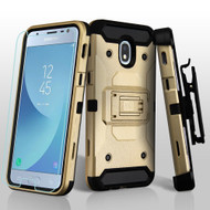 3-IN-1 Kinetic Hybrid Armor Case with Holster and Tempered Glass Screen Protector for Samsung Galaxy J3 (2018) - Gold